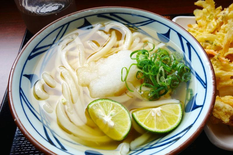 Close-up of udon noodles in bowl
