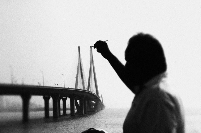 Bridge Bridge - Man Made Structure Creative Light And Shadow Creative Photography CreativePhotographer Creativity Engineering Rope Travel Water Bandraworlisealink Bandra Worli Sea Link How Do We Build The World? Welcome To Black