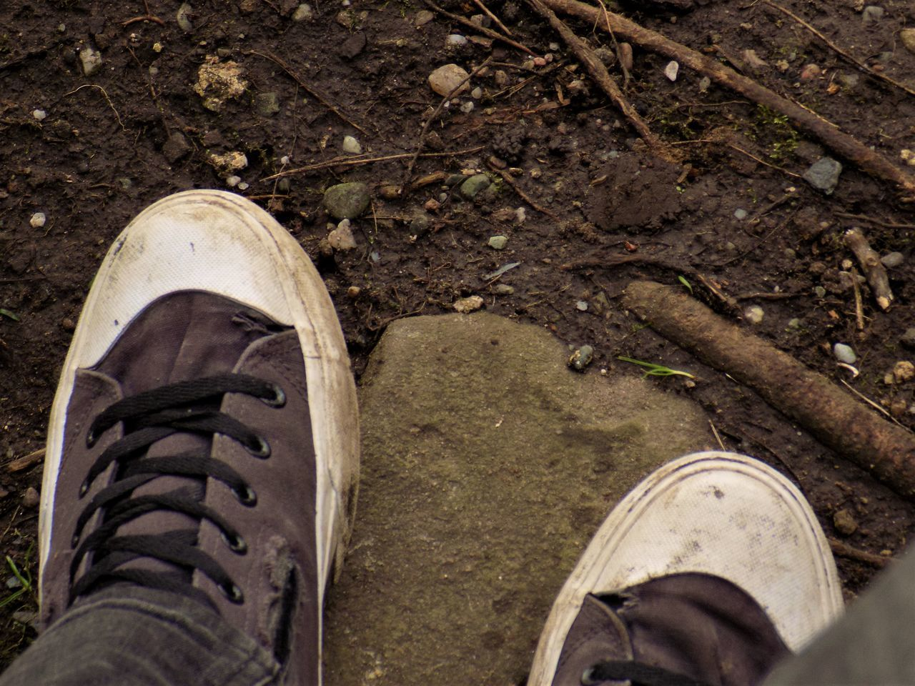 shoe, low section, dirty, one person, canvas shoe, high angle view, human body part, standing, human leg, close-up, outdoors, day, people, adult, one man only