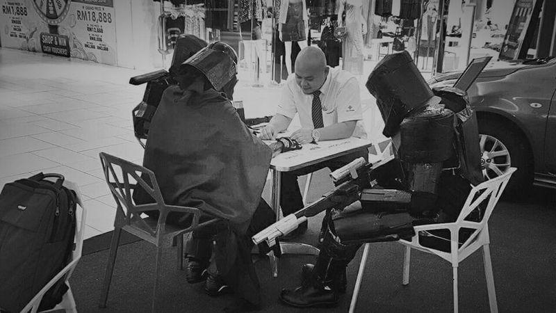 Myself Darthvader Darth Vader Costume Starwars Blackandwhite Black & White Funny Moments Funny Pictures Onduty Bald Baldhead