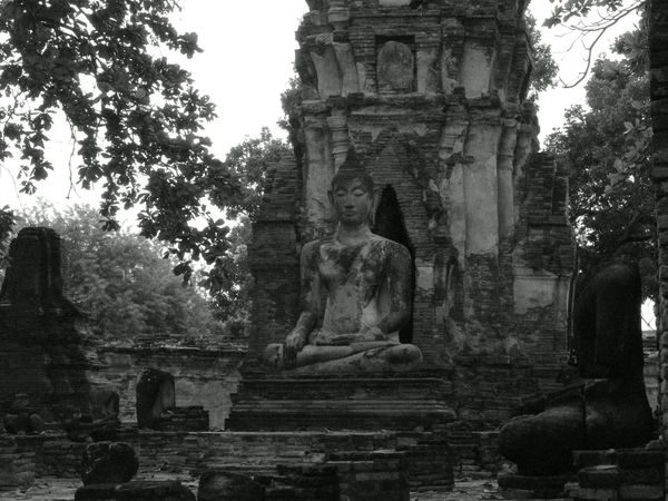 B&w Buda Budism Budist Tempel Monochrome Ruin Shrine Temple
