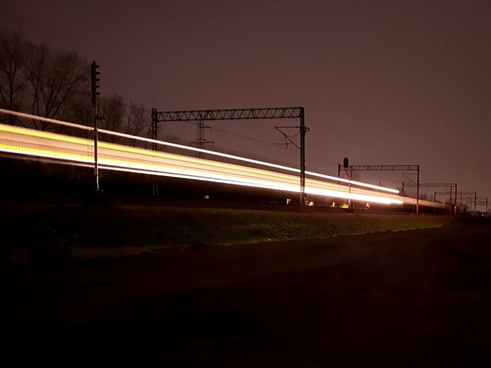 City Illuminated Road Motion Long Exposure Bridge - Man Made Structure Speed Light Trail Driving Car