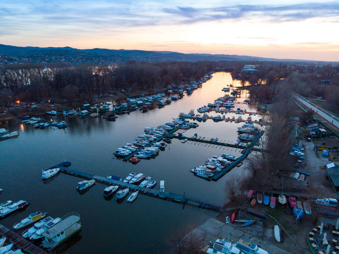 Architecture Nautical Vessel Water Sky High Angle View Transportation Building Exterior Sunset Mode Of Transportation City Nature Built Structure Cloud - Sky Dusk River Harbor Aerial View Moored Travel Destinations Outdoors Cityscape Novisad Danube Danube River