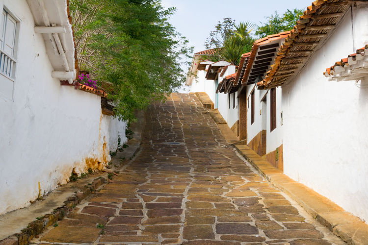 Architecture Building Building Exterior Cobblestone Colombia Diminishing Perspective Day Built Structure Narrow House No People One Point Perspective Pathway Peaceful Picturesque Street The Way Forward Tourism Traveling Vanishing Point Village Village Life