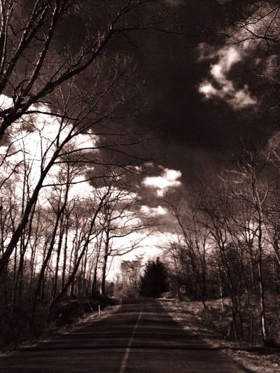 Mysterious Road Scenery Trees Mysterious Shadows Sky And Clouds