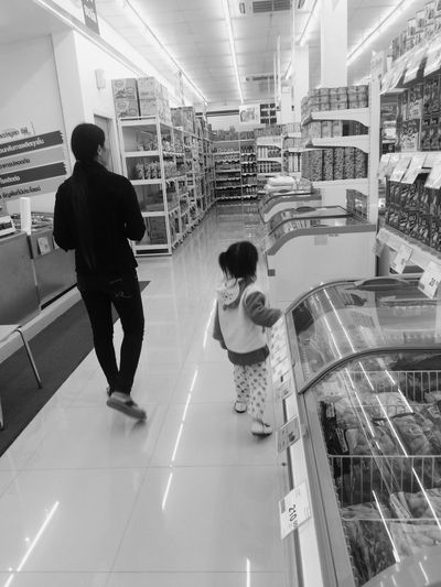 Two People Full Length Real People Rear View Lifestyles Walking Casual Clothing Boys Men Indoors  Leisure Activity Women Togetherness Day Thailand Shopping Mall Morther And Daugher Baby Kid Capture The Moment