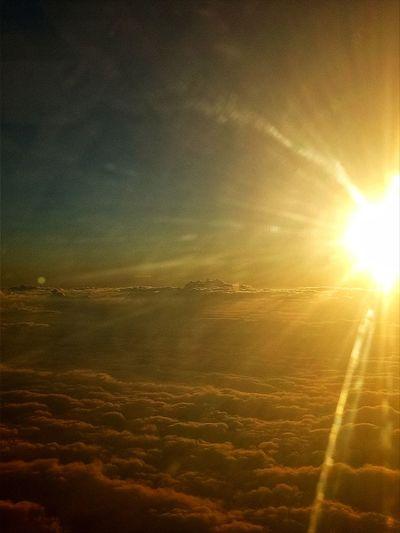 photo taken: 27/8/18 Sunset Airplane Sunlight Sun Flying Aerial View Lens Flare Sunbeam Sky Landscape