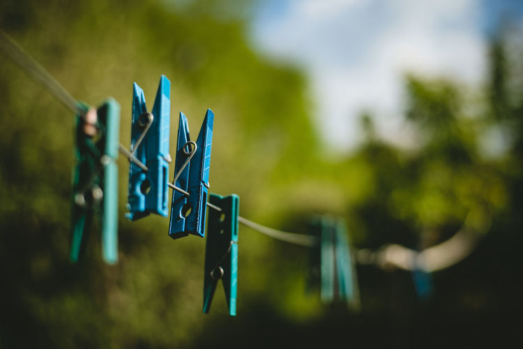 Close-Up Of Clothespin On Clothesline