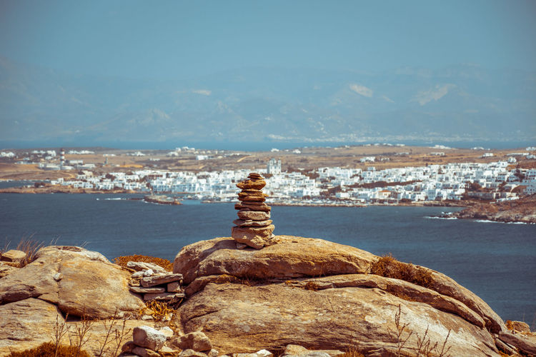 Stack of rocks against sea