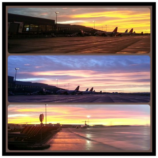 Sunset at Toulouse Airport Airport