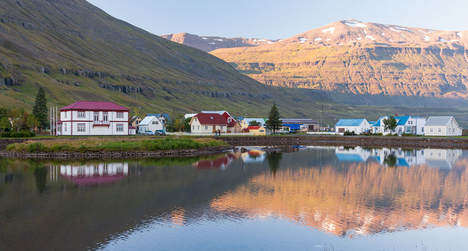 Love EyeEmNewHere Iceland Water Reflections Architecture Building Exterior Built Structure Country House House Idyllic Lake Landscape Mountain Nature Reflection Scenics Tranquil Scene Tranquility Water Waterfront Seyðisfjörður