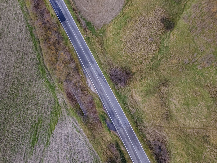 High angle view of road amidst land