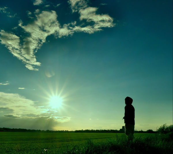 Beauty In Nature Blue Cloud Cloud - Sky Field Grass Grassy Green Color Horizon Over Land Idyllic Landscape Leisure Activity Lens Flare Lifestyles Nature Outdoors Remote Rural Scene Scenics Sky Sun Sunbeam Sunlight Tranquil Scene Tranquility