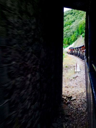 The tourist train is coming out of the tunnel~Le train touristique sort du tunnel (游览火车驶出隧道) France Train Tourist Train Tunnel