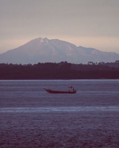 Mountains Volcano Sea Ocean Ship Ferry Ferryboat Cargo Ship Navegation South Chiloé, Chile Landscape Seascape Nature Landscapes With WhiteWall