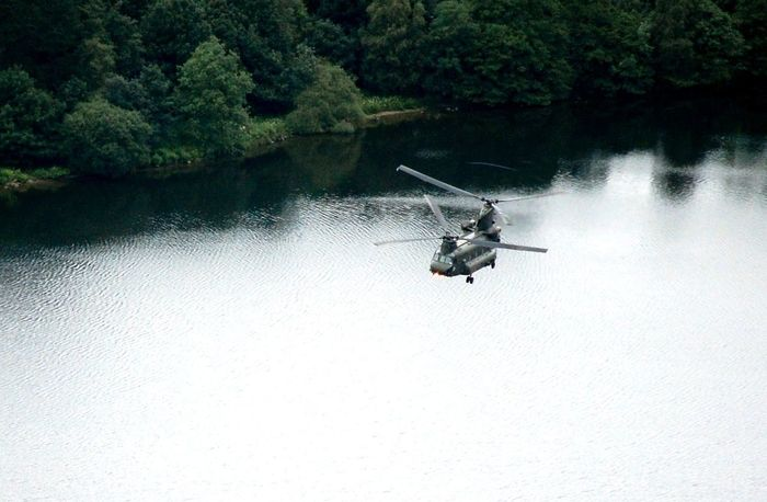 Royal Air Force Chinook flying low near Grasmere in the Lake Distict, uk Beauty In Nature Chinook Day Flying Helicopter Lake Mode Of Transport Nature No People One Animal Outdoors Transportation Tree Water