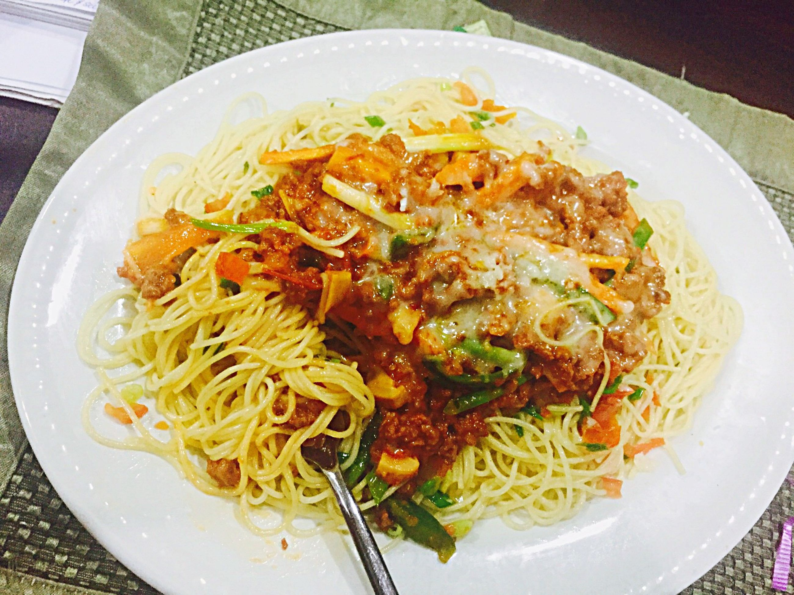 food, food and drink, indoors, ready-to-eat, freshness, plate, meal, noodles, serving size, close-up, healthy eating, pasta, high angle view, still life, meat, table, bowl, indulgence, cooked, spaghetti