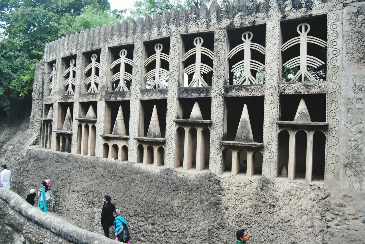 People At Historic Building In Rock Garden Of Chandigarh