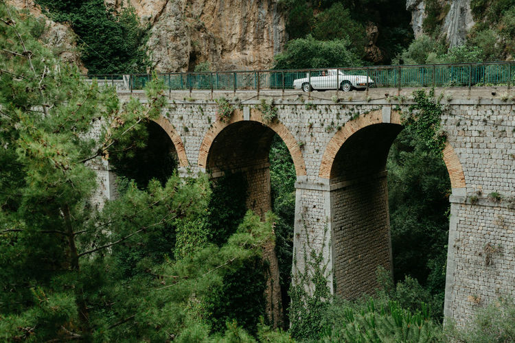 Amalfi Coast Dream Vacation Amalfi Italy Costa Amalfitana Bycar White Car Convertible Old Bridge Rocks