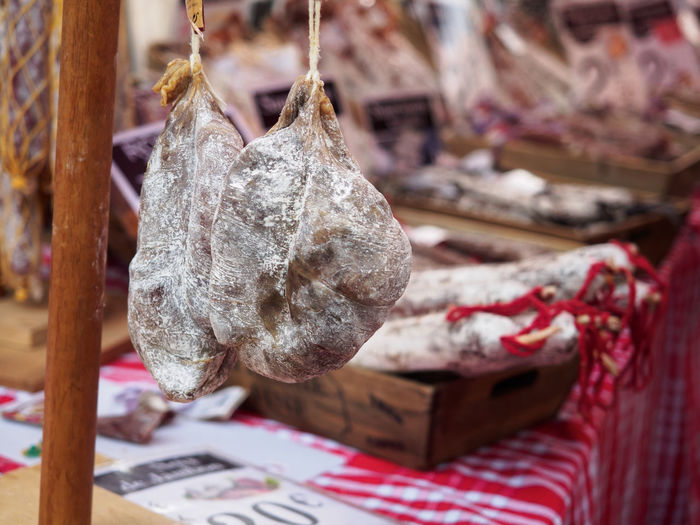 Close-Up Of Hanging Meat At Stall