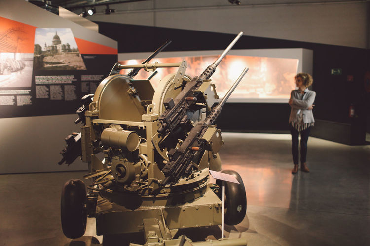 Adult Adults Only Anti-aircraft Artillery Archival Bastogne War Museum Day Full Length Indoors  Museum One Person People Performance Stage - Performance Space Standing World War II WWII