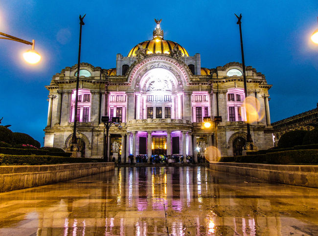 Illuminated Night Dome Reflection Architecture Travel Destinations Sky No People Outdoors Water City City Mexico City Bellas Artes,México City Bellas Artes, México D.F. Architecture Bellas Artes