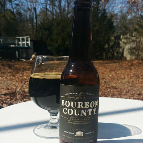 Such a nice day out. Gooseisland Bourboncounty Bourboncountystout Barrelaged Bourbon Outside Instabeer Beerporn Craftbeerporn Cheers Craftbeer Beerstagram Craftbrew NowDrinking Snifter Properglassware