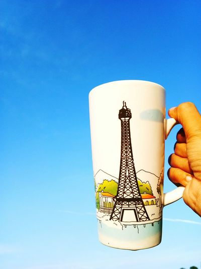 Good Morning Paris! Goodmorning :) Check This Out EyeEmNewHere Coffee Mug Great Atmosphere Paris Eiffel Tower Sky Blue Ombré Sky Positive Emotion Good Vibes