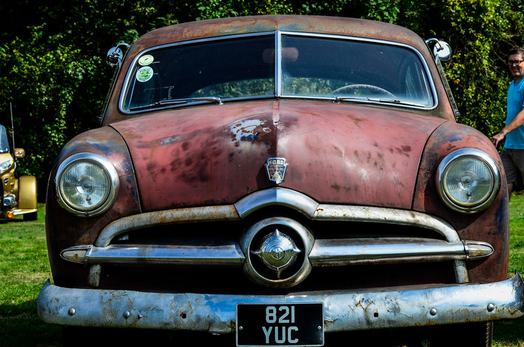 Headlight Car Transportation Mode Of Transport No People Day Outdoors Close-up Metal Rusty Ford 1949 Vintage Classic Ugly Worn Out