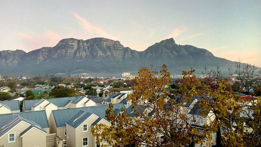 Pink Colour Clouds Table Mountain Blue Sky Day Time Beautiful Nature Tree Mountain Sky Architecture Building Exterior Residential District Rooftop