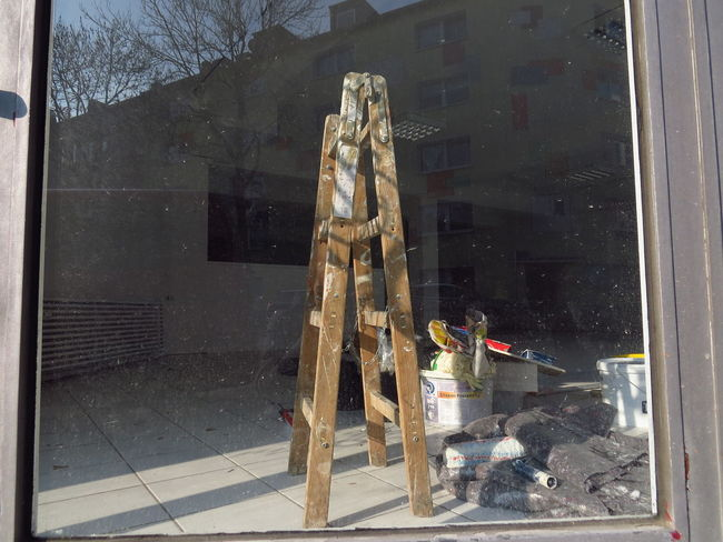Abandoned & Derelict Abandoned Places Construction Construction Site Empty Places Folding Ladder Ladder Reflection Renovation VOID Abandoned Abandoned Buildings Bucket Built Structure Construction Work Desolation Paint Bucket Reflection In The Window Refurbish Renovating Shopwindow Site Vacancy Window Working