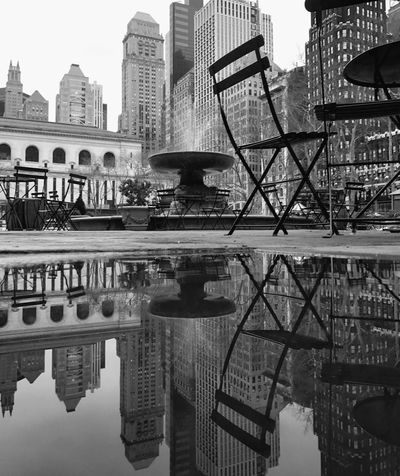 Architecture City Reflection Water Day Outdoors No People TheMinimals (less Edit Juxt Photography) Blackandwhite Puddleography