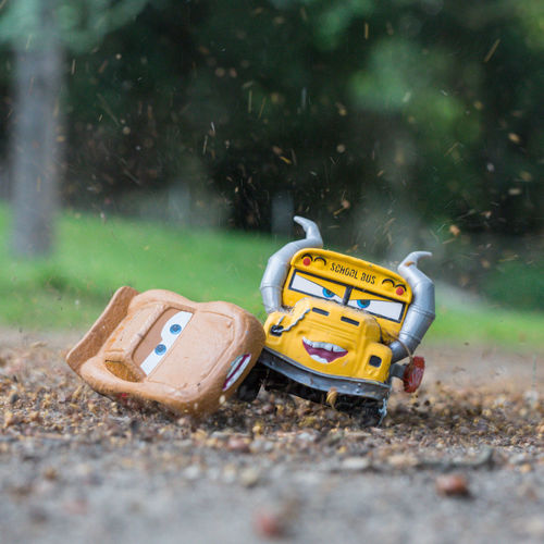 Close-up of toy car on field