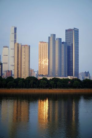 Skyscraper Urban Skyline City Architecture Cityscape Modern Sky Reflection Downtown District Building Exterior Outdoors Travel Destinations Sunset Built Structure Clear Sky FUJIFILM X-T10 Changsha, Hunan Travel Landscape Light And Shadow