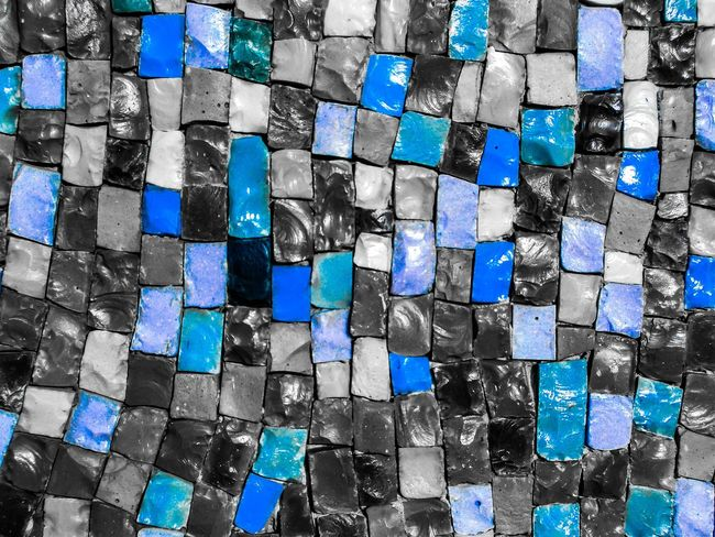 Mosaic Blue Smalt Smalto Pattern Full Frame Backgrounds No People Arrangement Blue Large Group Of Objects Outdoors Multi Colored Close-up Day