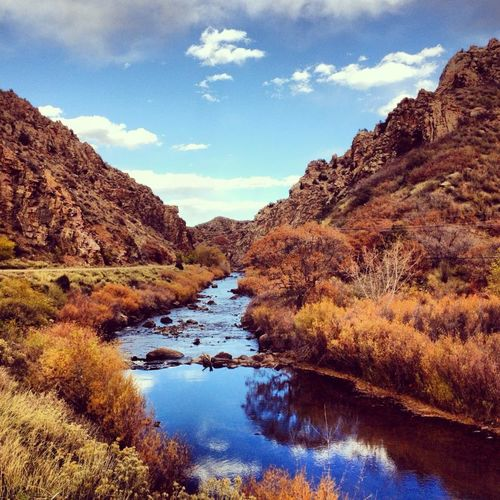 Beauty In Nature Blue Calm Cloud Deer Creek Canyon Deer Creek Reservoir Denver Denver Hike Landscape Majestic Mountain Nature No People Non-urban Scene Outdoors Reflection Remote Scenics Sky Tranquil Scene Tranquility Water Water Between Canyon