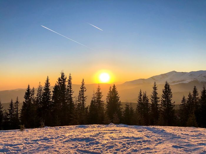 Sky Beauty In Nature Winter Snow Scenics - Nature Cold Temperature Sunset