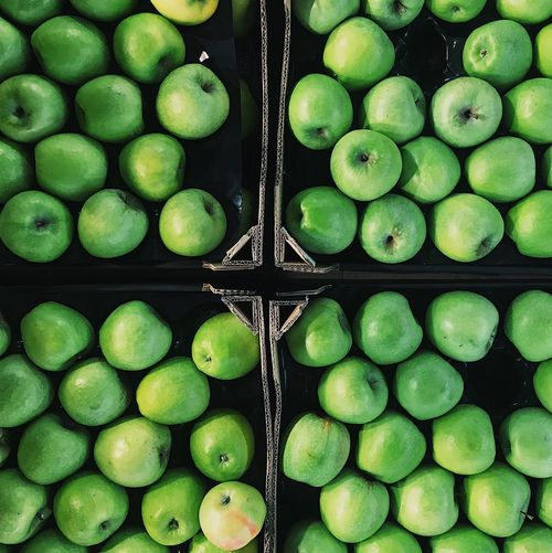 Full frame shot of granny smith apples in market for sale