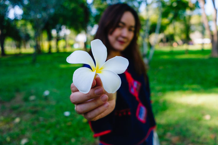 Close-Up Of Woman Holding Frangipani In Park