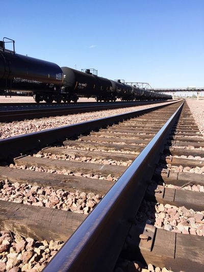 """Black Tanker Run"" Tank cars on the BNSF running in front of the Barstow Harvey House. Tankercars Tanker Train Traincar Railroad Railroad Tracks Railroad Love Railroadphotography BNSF Trains Traintracks"