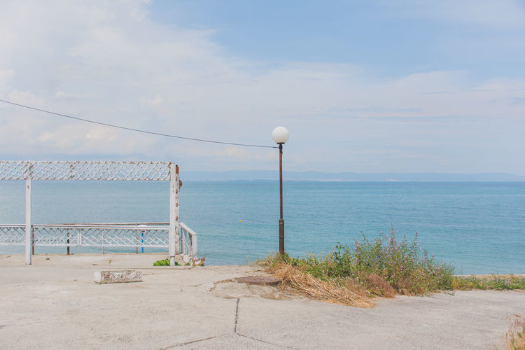View Of Empty Calm Blue Sea Against The Sky