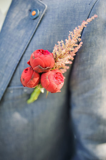 Close-up of roses in man pocket