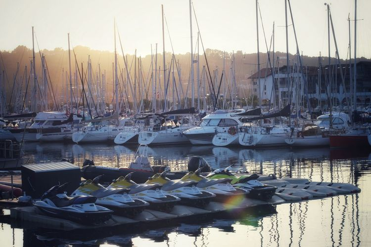Water Nautical Vessel Harbor Yacht Moored Sailboat Mast Sunset Reflection Sky