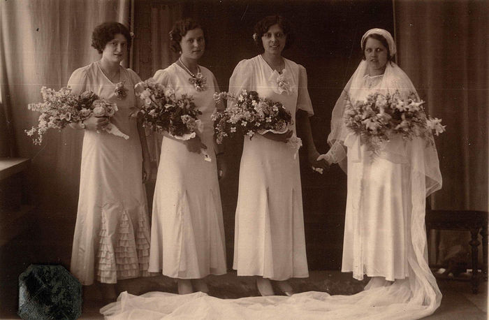 Old Family Portrait: Bride with her three Bridesmaids Vintage Wedding Photo Adult Bouquet Bride Celebration Clothing Event Flower Flower Arrangement Flowering Plant Group Of People Indoors  Life Events Men Newlywed Old Family Pictures Old Wedding Photos Plant Standing Togetherness Vintage Wedding Dress Vintage Wedding Veils Wedding Wedding Dress Women