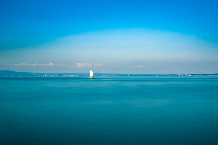 Beauty In Nature Blue Blue Color Cloud - Sky Copy Space Day Distant Horizon Over Water Journey Nature Nautical Vessel No People Non-urban Scene Ocean Sailing Scenics Sea Seascape Sky Tranquil Scene Tranquility Vacations Water Waterfront