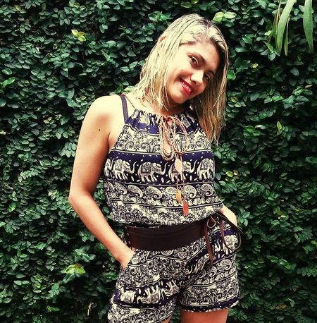 Brazilian Woman Basic Blond Hair Beautiful Woman Smiling