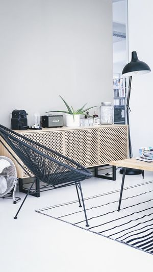 Absence Chair Day Domestic Room Electric Lamp Flooring Furniture Home Interior Indoors  Lighting Equipment Nature No People Office Plant Potted Plant Seat Table Technology Wall - Building Feature White Color