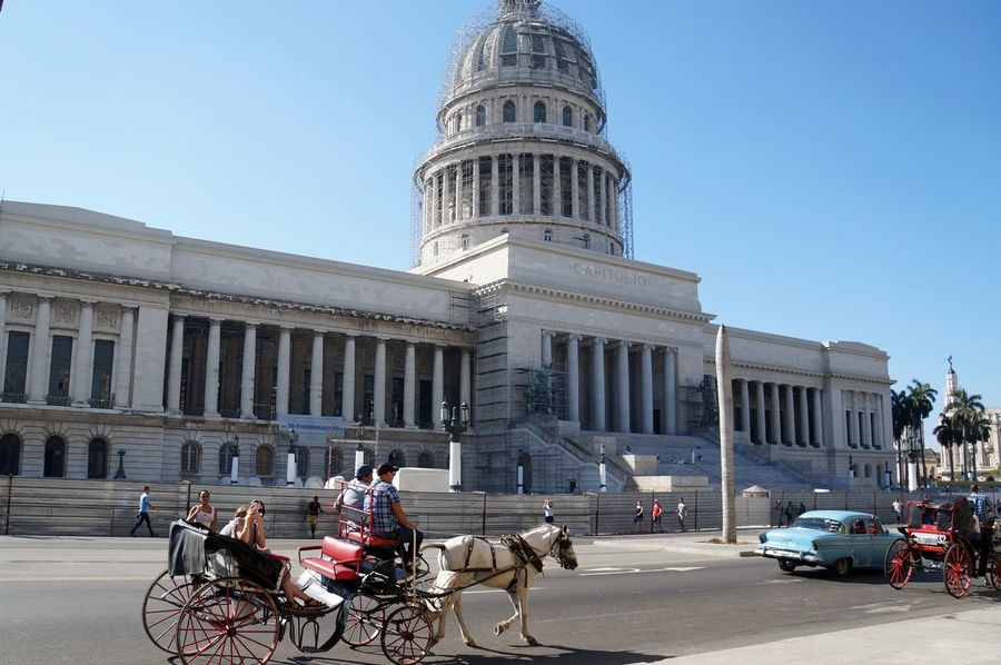 Architectural Column Architecture Building Exterior Built Structure Capitolio City Clear Sky Cuba Cuba Collection EyeEm Gallery Havana Horse Cart Landmarks Old Car Outdoors Streetphotography Travel Destination Travel Destinations Travel Photography Traveling Vintage Cars