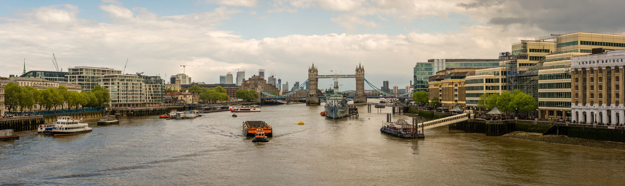Panoramic view of boats in river against cloudy sky