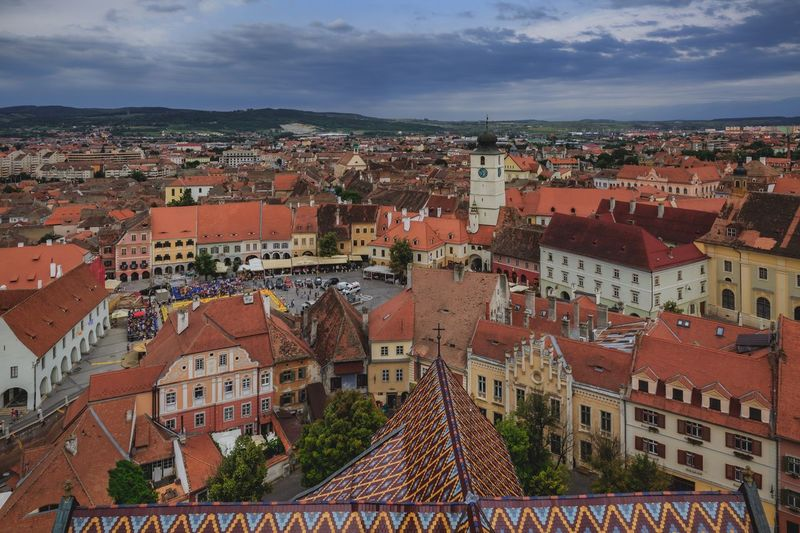 Old town Sibiu Sibiu, Romania Architecture Building Exterior Built Structure City Building Residential District Cloud - Sky Cityscape Sky Crowd High Angle View Crowded Town Outdoors Roof TOWNSCAPE Community House